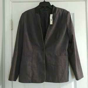 Charcoal and leather blazer